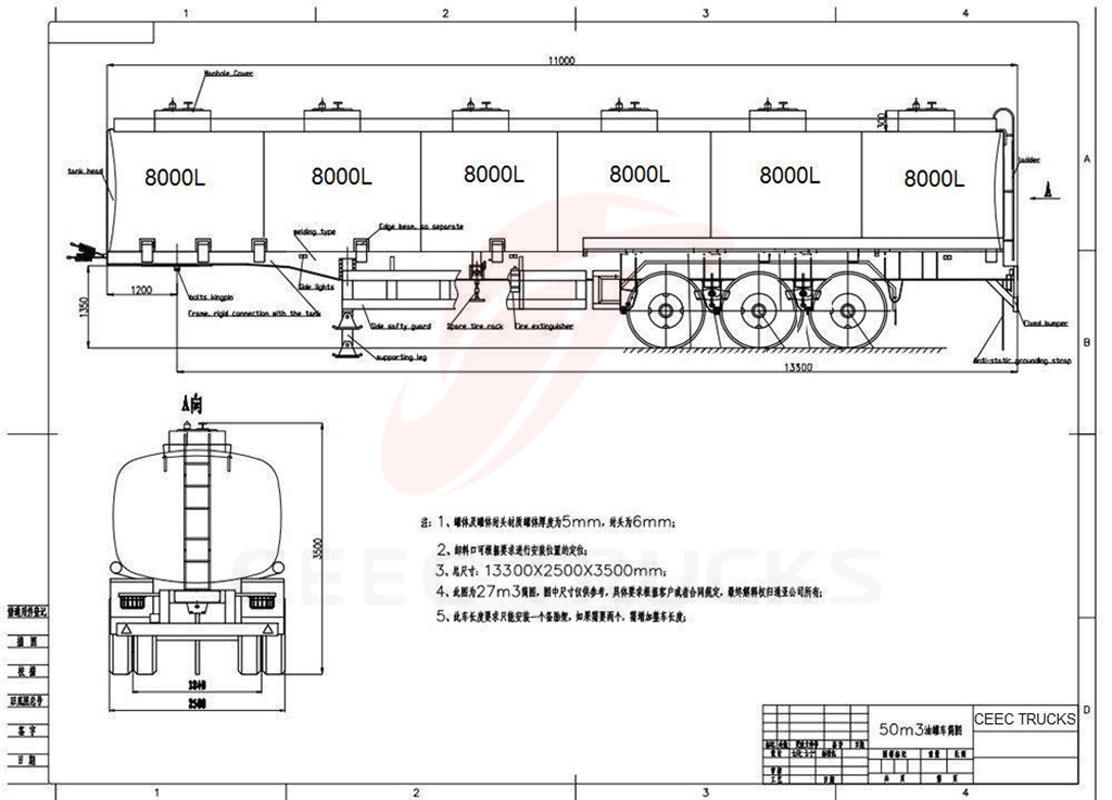 3 axle stailess steel fuel tanker semitrailer drawing