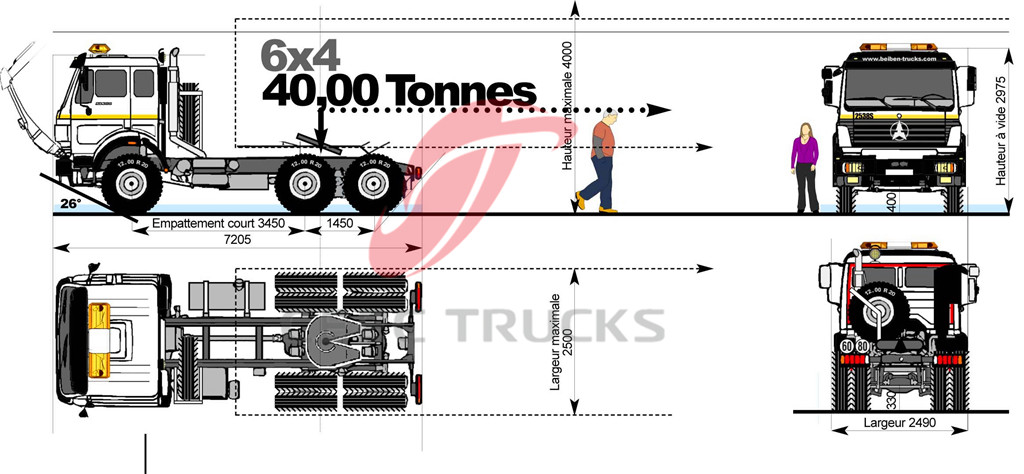 beiben 2536 tractor trucks technical drawing
