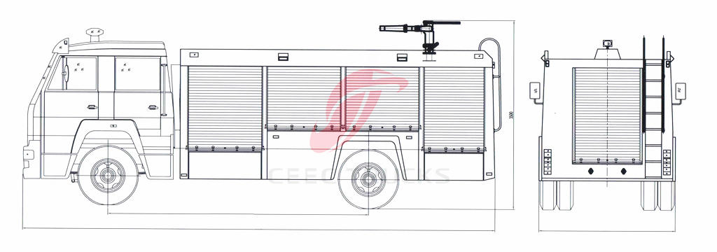 ISUZU firefighting truck drawing