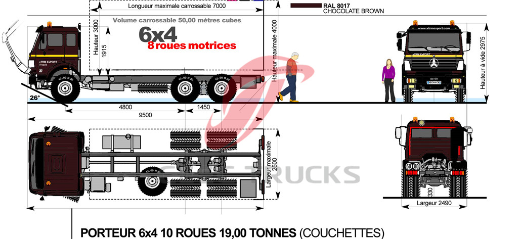 beiben 2534 fuel tanker truck chassis drawing