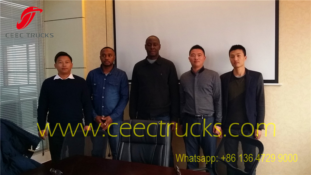 Algeria customer visiting our factory about purchasing firefighting truck