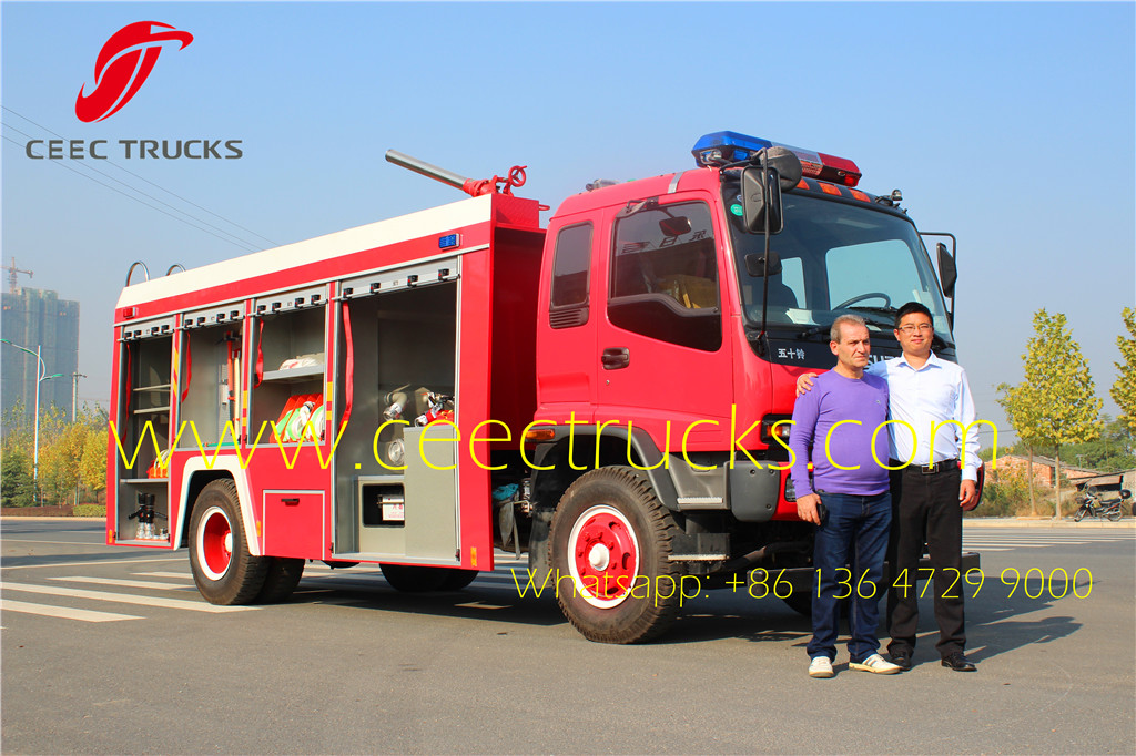 Russia customer buy ISUZU 5 CBM firefighting truck