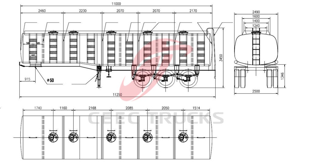 35 CBM fuel tanker trucks dimension drawing