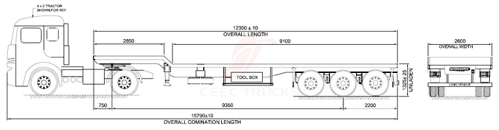 3 axle low bed semitrailers drawing