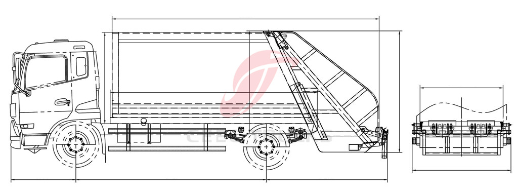 Dongfeng 5 CBM garbage compresser trucks drawing