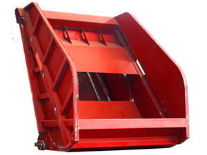 Trash compactor truck hopper assembly