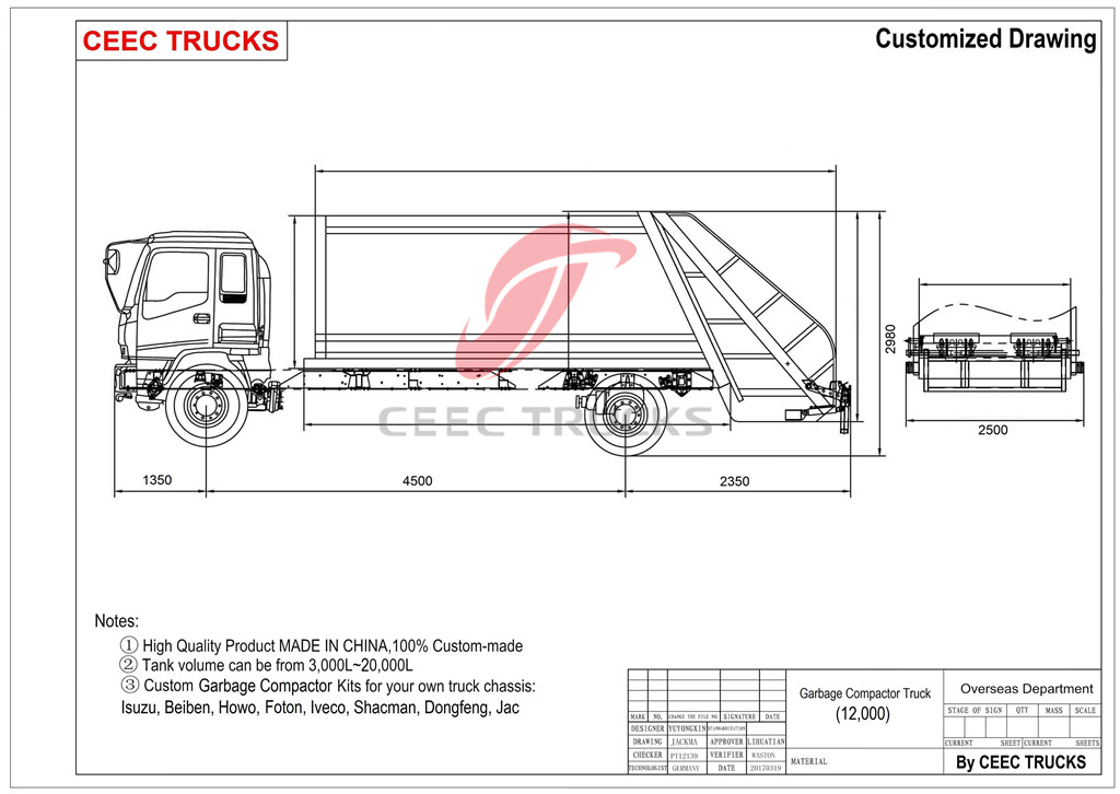 CEEC supply ISUZU 12 CBM water tanker truck drawing