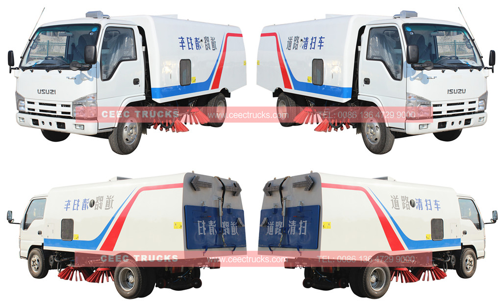 ISUZU 4cbm road sweeper truck wholeview
