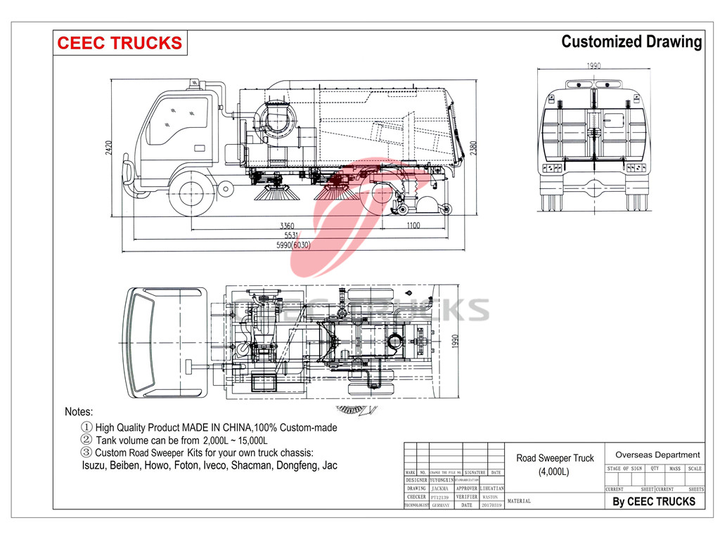 ISUZU 4cbm road sweeper truck drawing