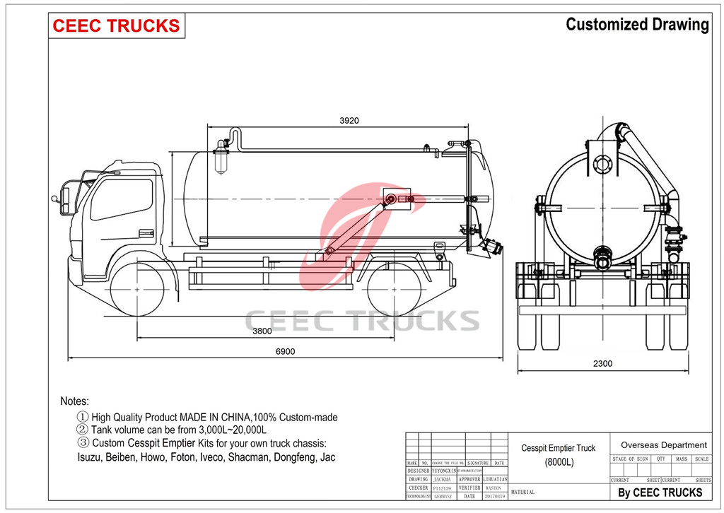 technical drawing for DFAC 8cbm cesspit emptier