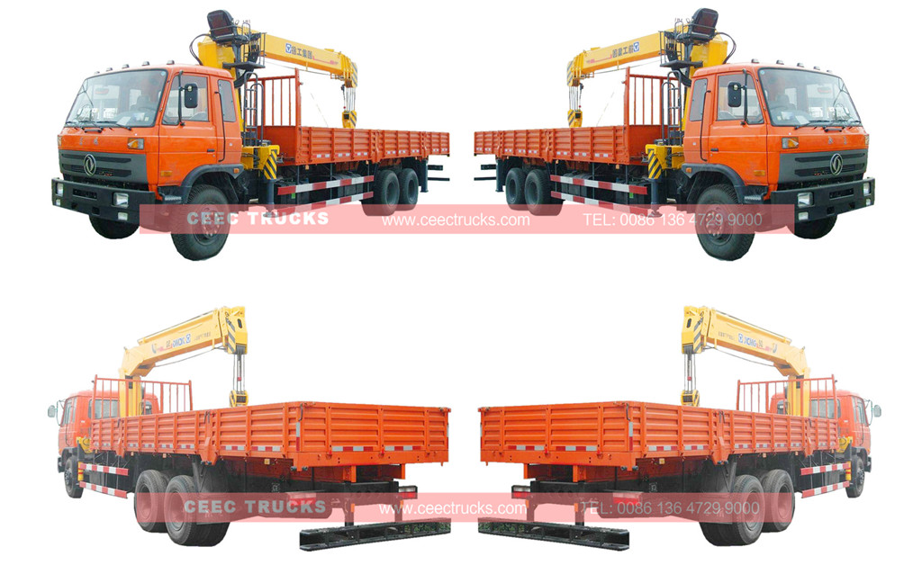Dongfeng 14 tons mounted boom crane trucks wholeview