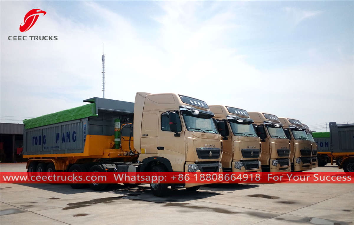 China HOWO tractor trucks with dump trailer